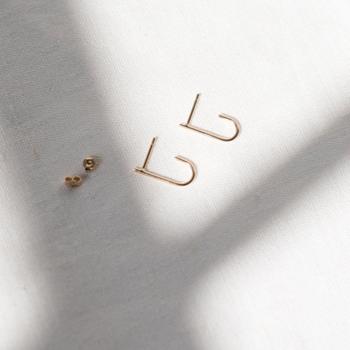 Studio Adorn Pair Recycled 9ct Gold Curl Stud Earrings
