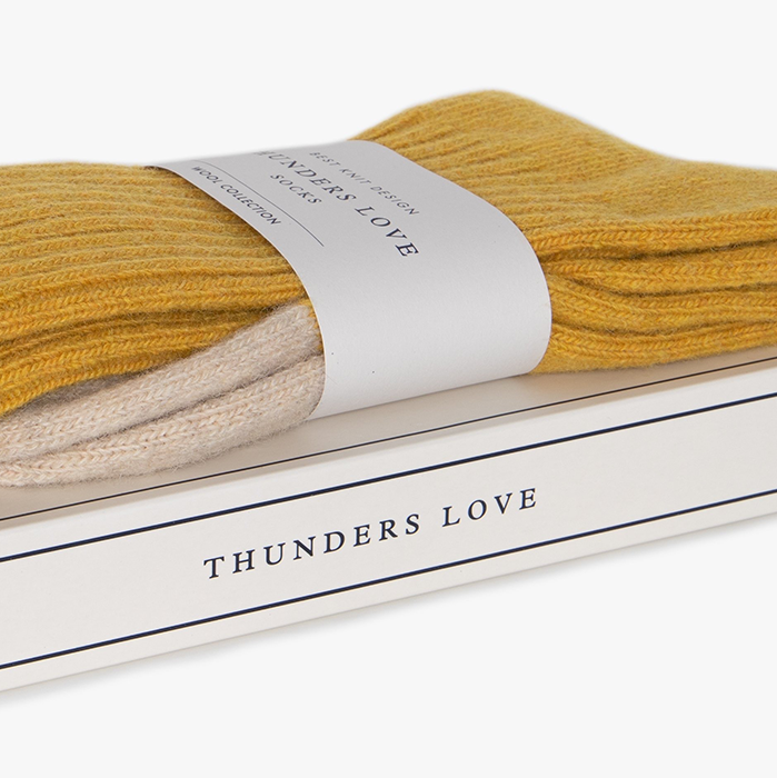 Thunders Love Mustard Yellow Wool Socks