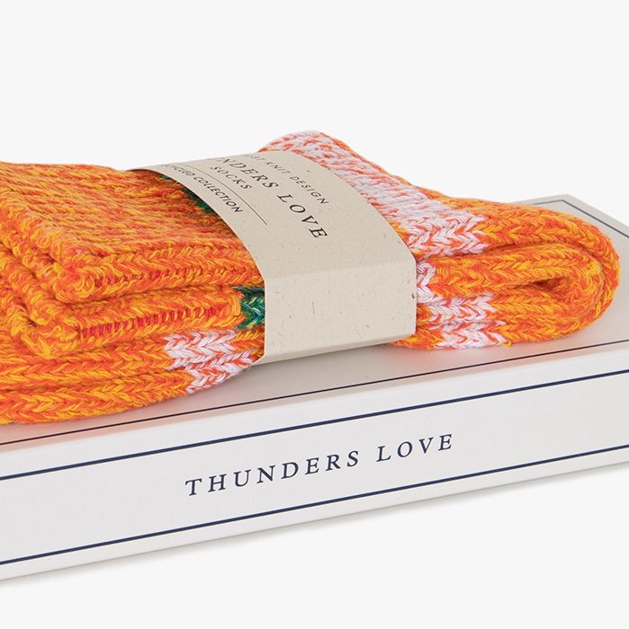Thunders Love Island Orange Japanese Recycled Socks