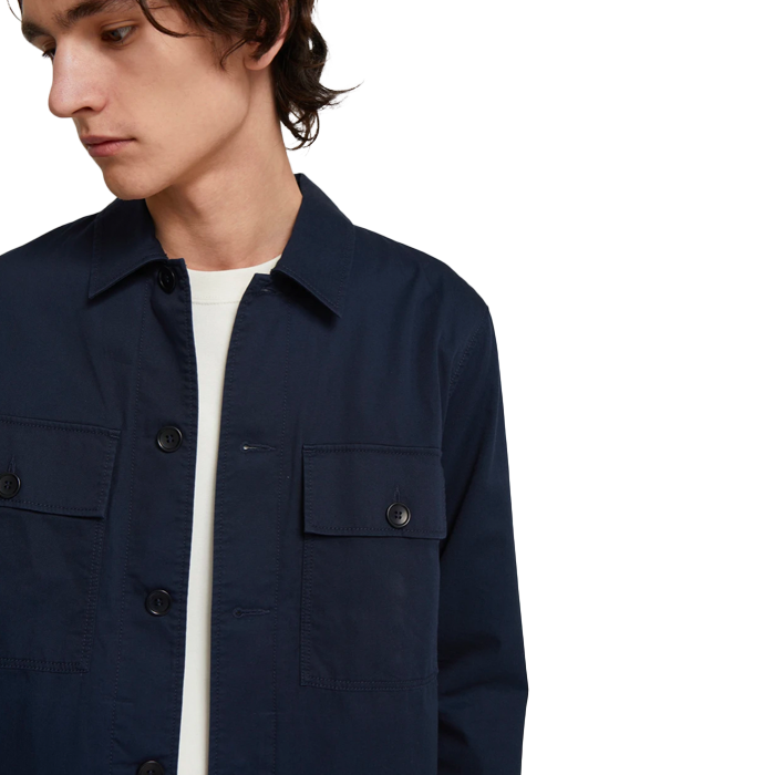 Wood Wood Fabian Navy Twill Overshirt