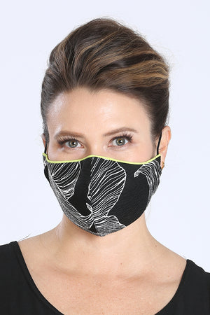Face Mask - Black w/ White Design Print