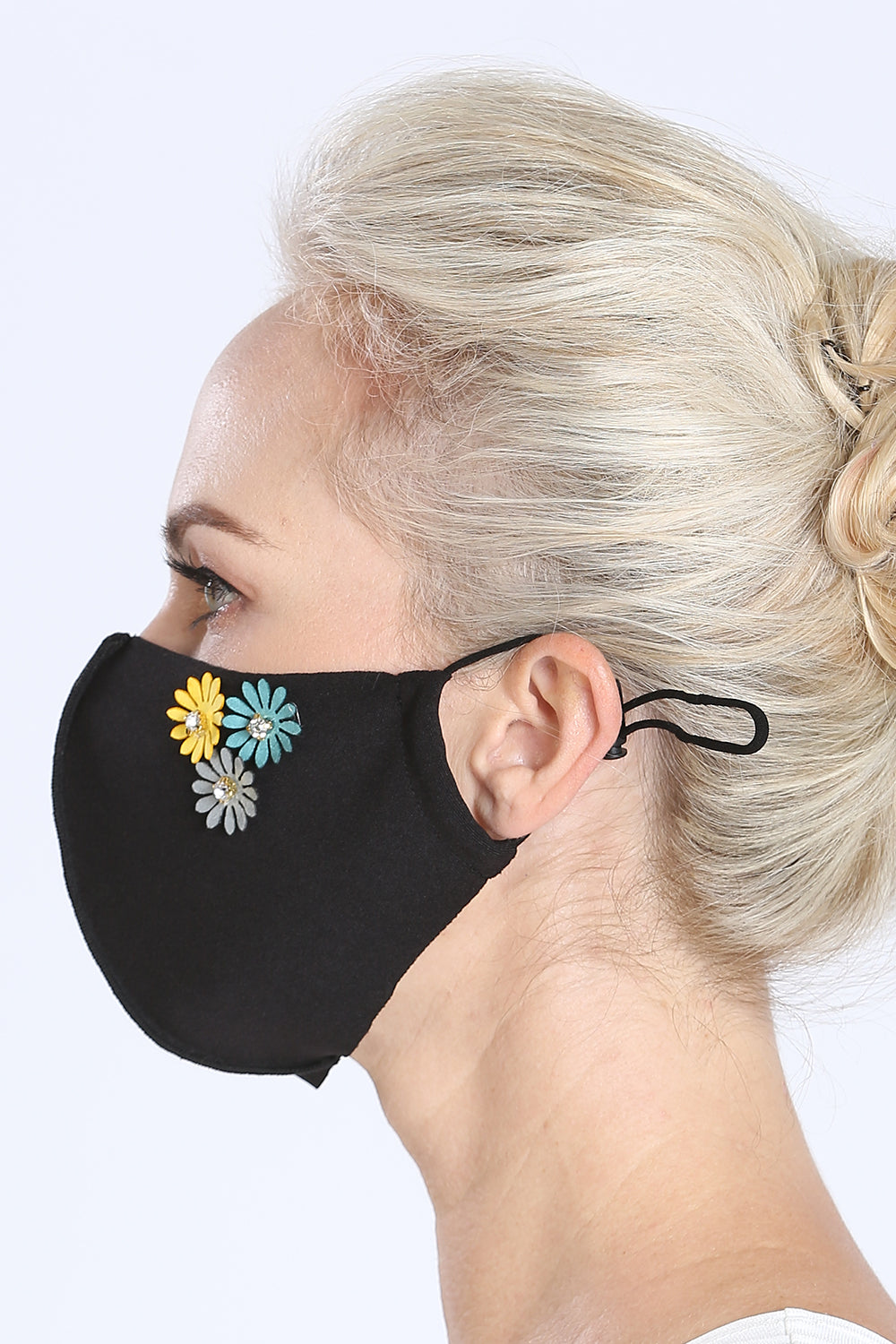 Face Mask - w/ Flower Pins
