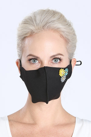 Face Mask - Black w/ Flower Pins