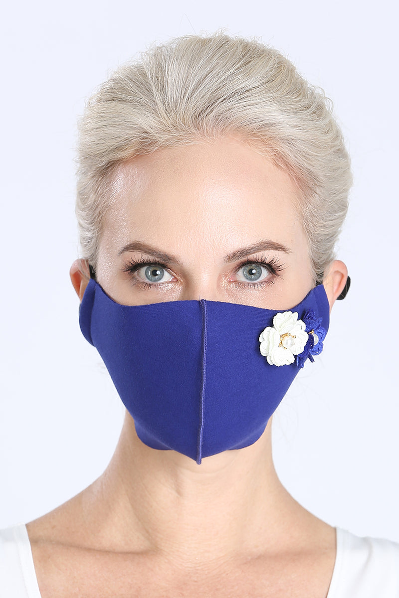 Face Mask - w/ Floral Pins