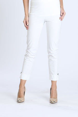 White Plus Size Pearl Detail Ankle Pants