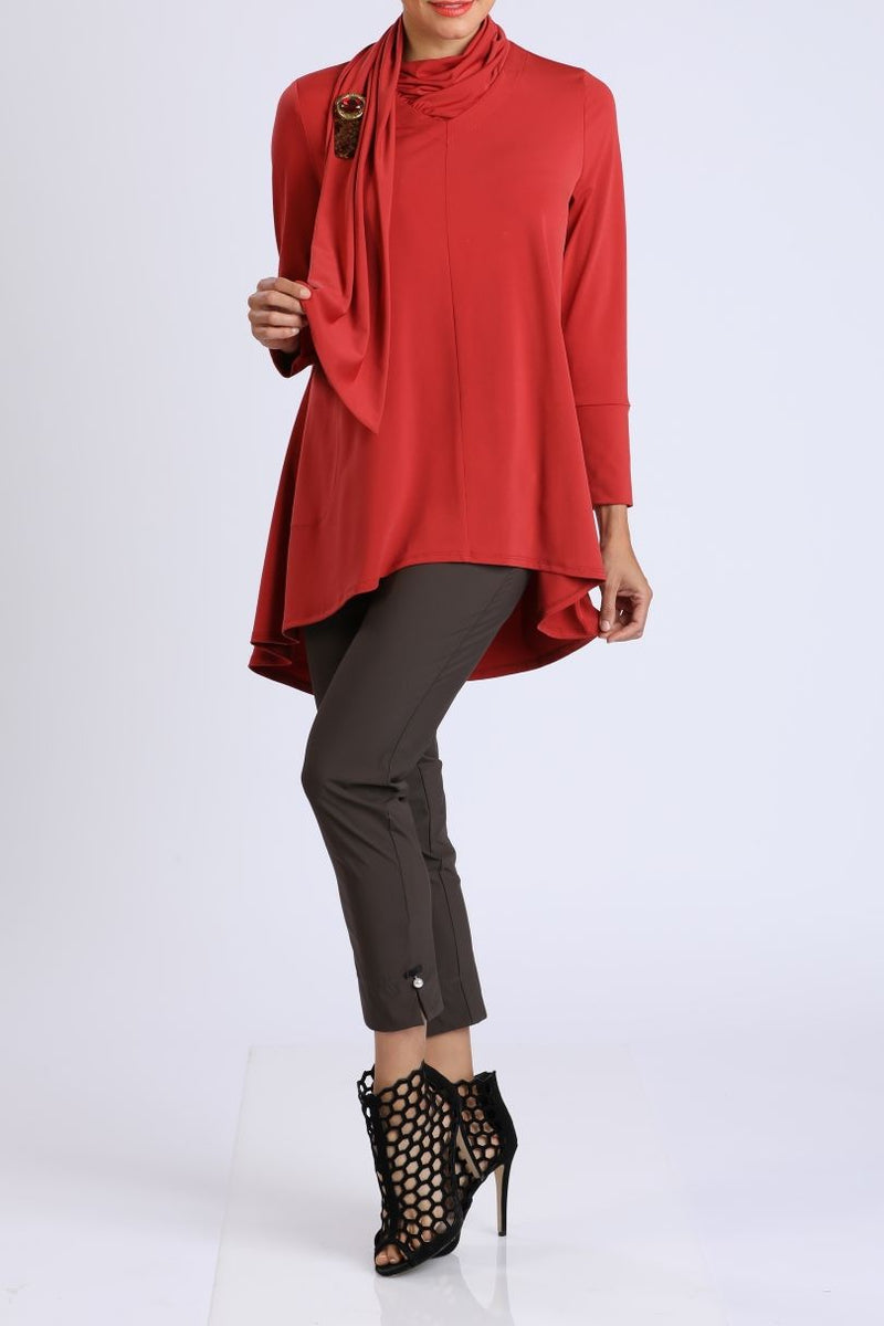 High-Low Scarf Neck Tunic Top