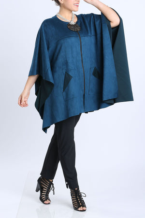 Zip-Front Faux Suede Poncho