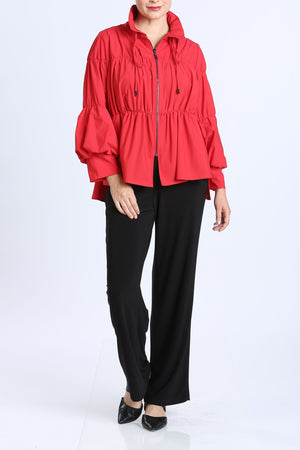 Red Shirred Sleeve Zip-Up Blouson Jacket