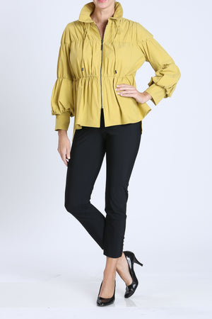 Yellow Shirred Sleeve Zip-Up Blouson Jacket