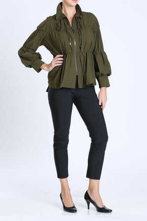Olive Green Shirred Sleeve Zip-Up Blouson Jacket