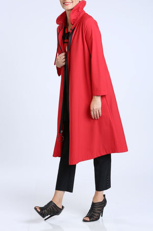 Long Red Zip-Front Jacket