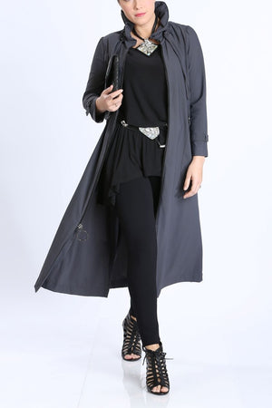 Long Charcoal Zip-Front Jacket