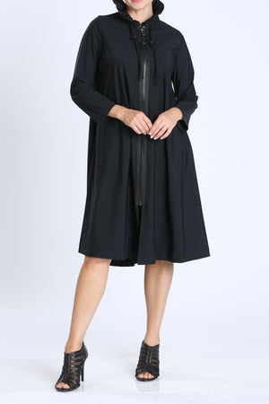 Black Ruffle-Stand Collar Long Jacket