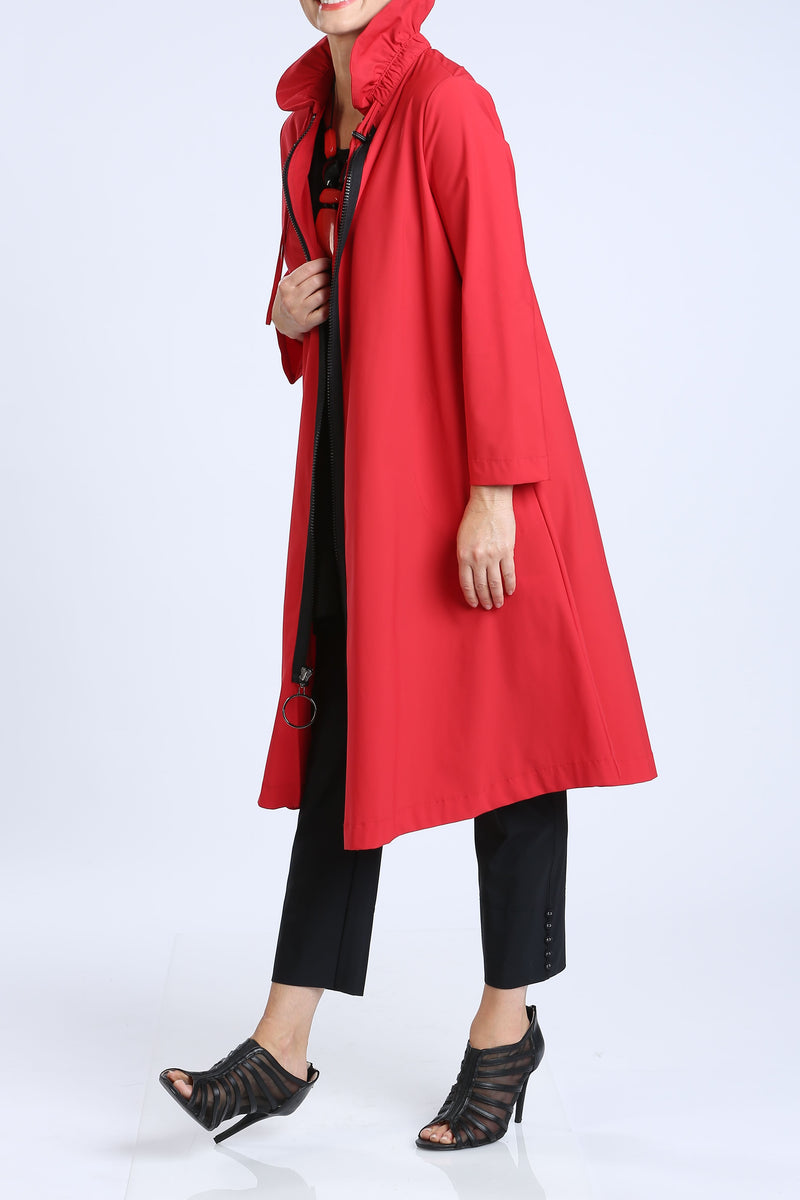Plus Size Long Red Zip-Front Jacket