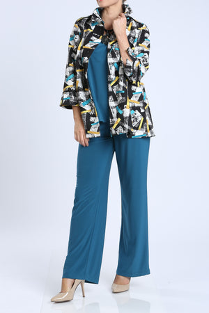 Plus Size Gentle Print Wire Collar Jacket