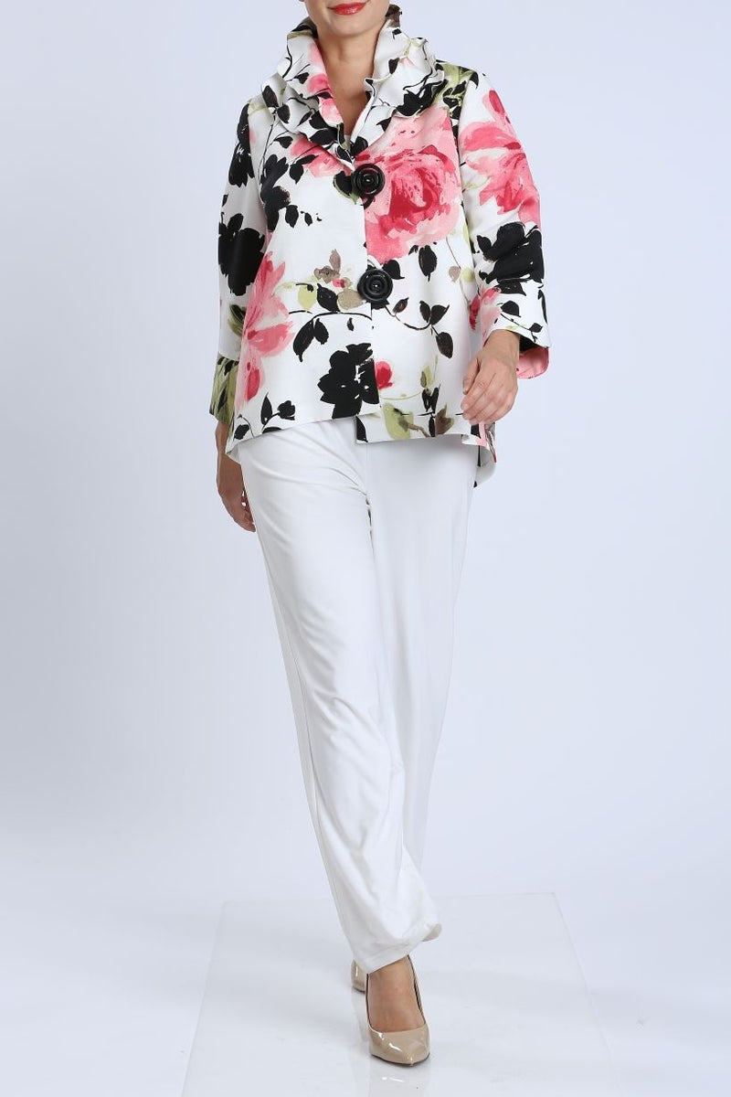 Pink Floral Ruffle Collar Jacket