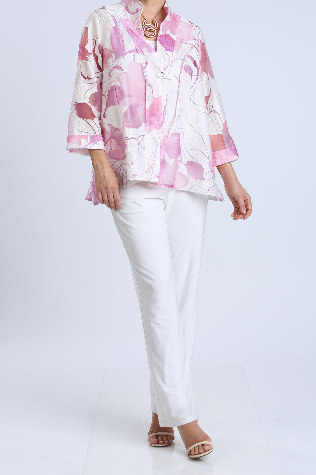 Pink Stand Collar Sheer Floral Jacket