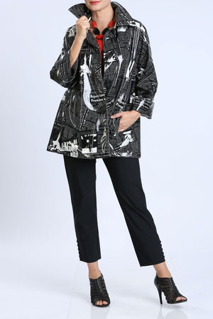 Newspaper Print Cuffed Long Sleeve Jacket