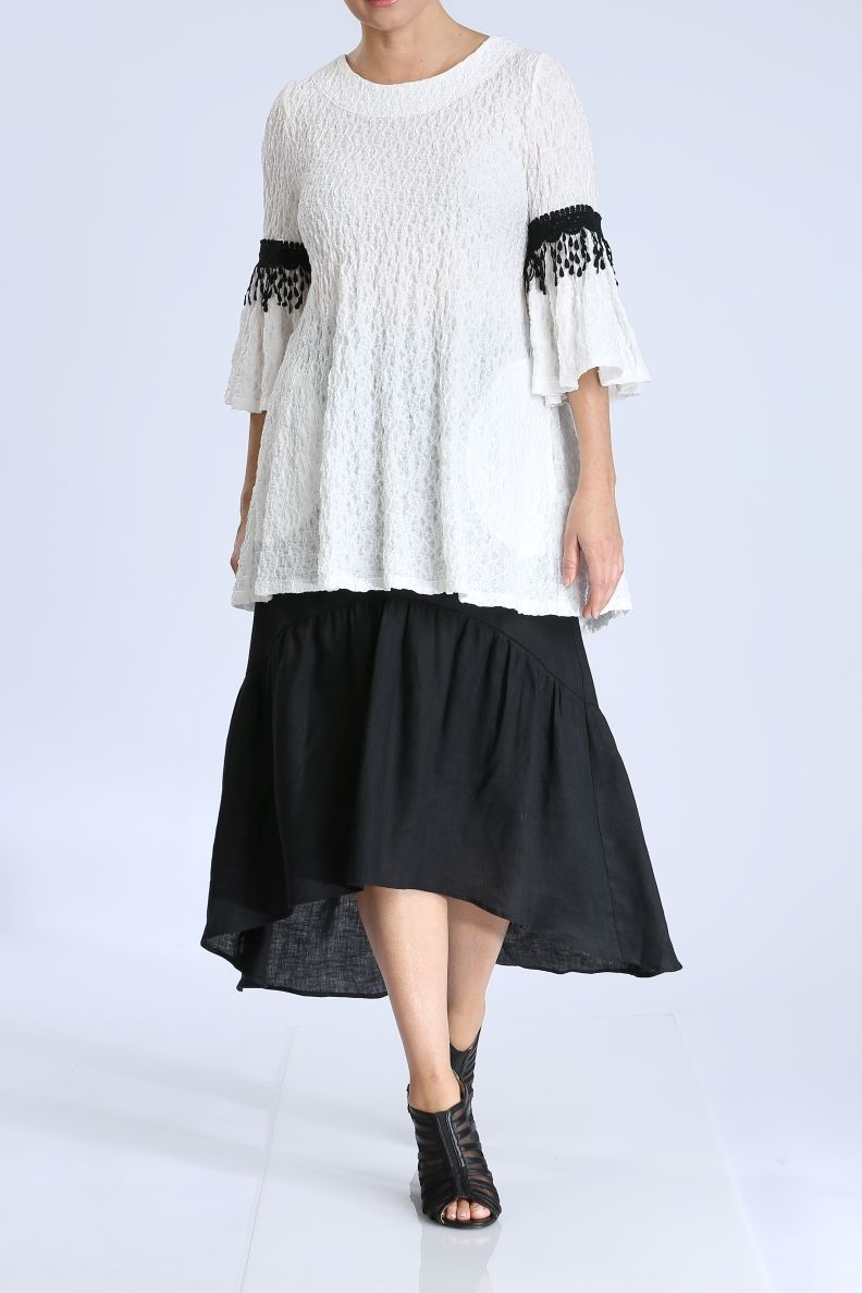 Boat Neck Ruffle Sleeves Top