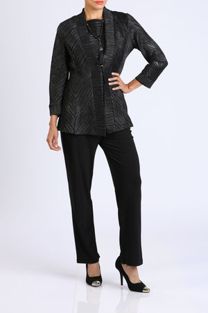 Black Button Front Jacket & Top