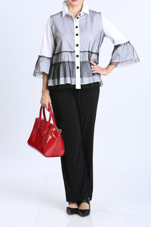 White Sheer Ruffle Button Front Blouse