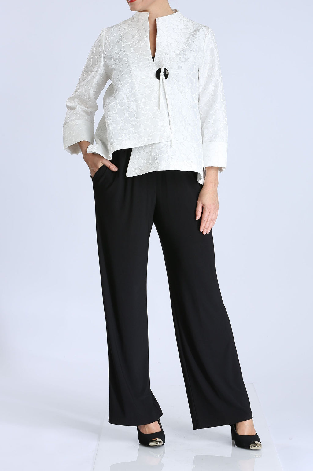 White Drop Dot Jacquard One Button Jacket