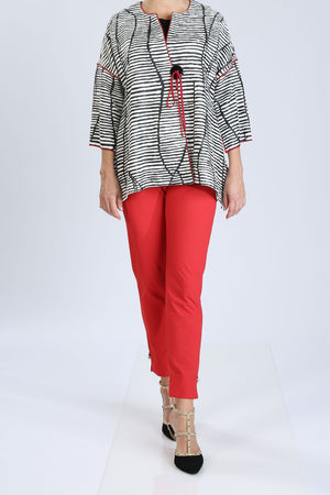 Plus Size One-Button Front Striped Jacket