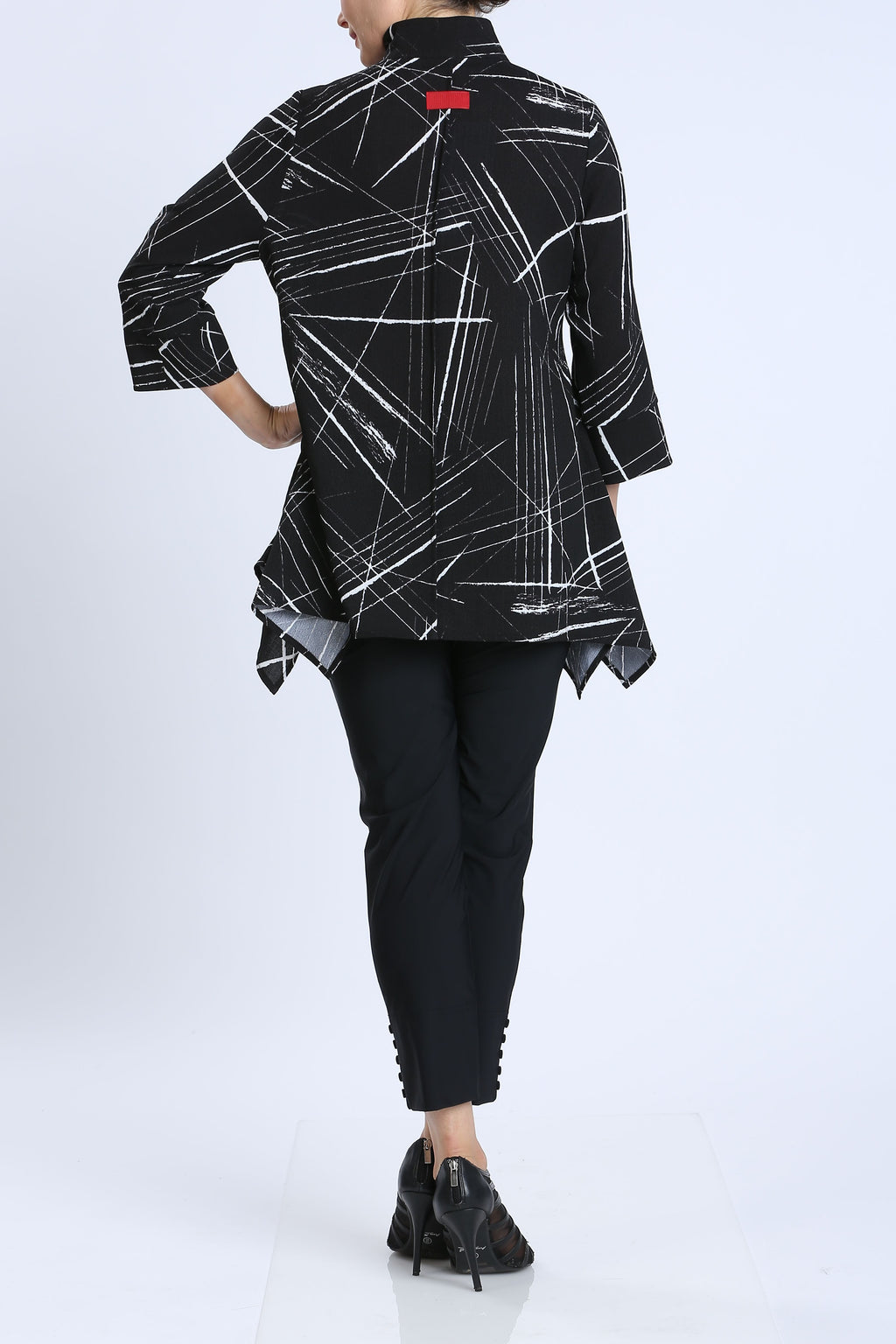 Plus Size Black/White Contrast Stand Collar Jacket