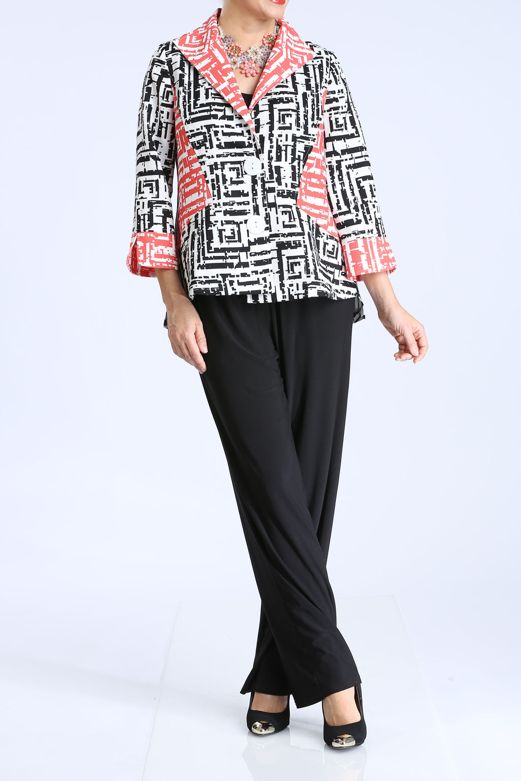 Plus Size Garden Print Color Block Jacket