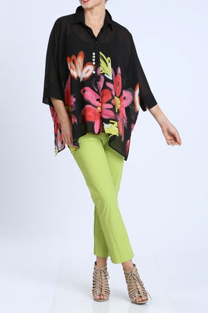 Plus Size Sheer Floral Print Blouse
