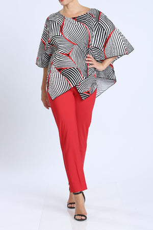 Red Scoop Neck Stripe Print Top