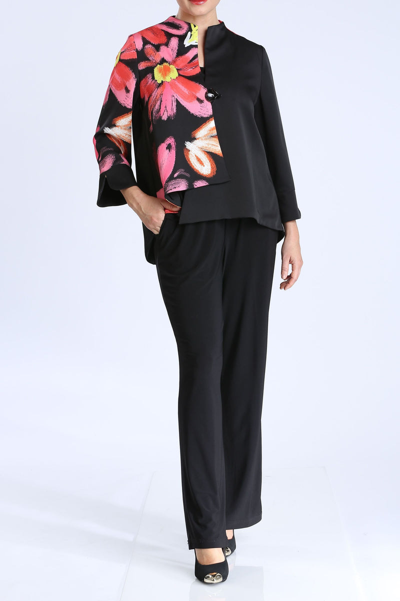 Plus Size Floral One Button Jacket