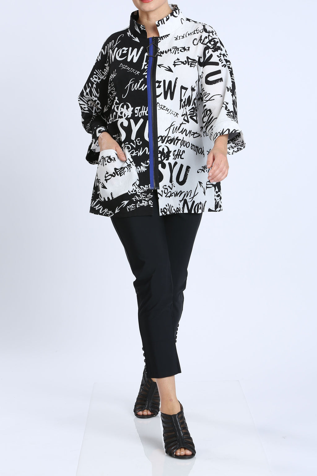 Plus Size Black & White Color Block Jacket