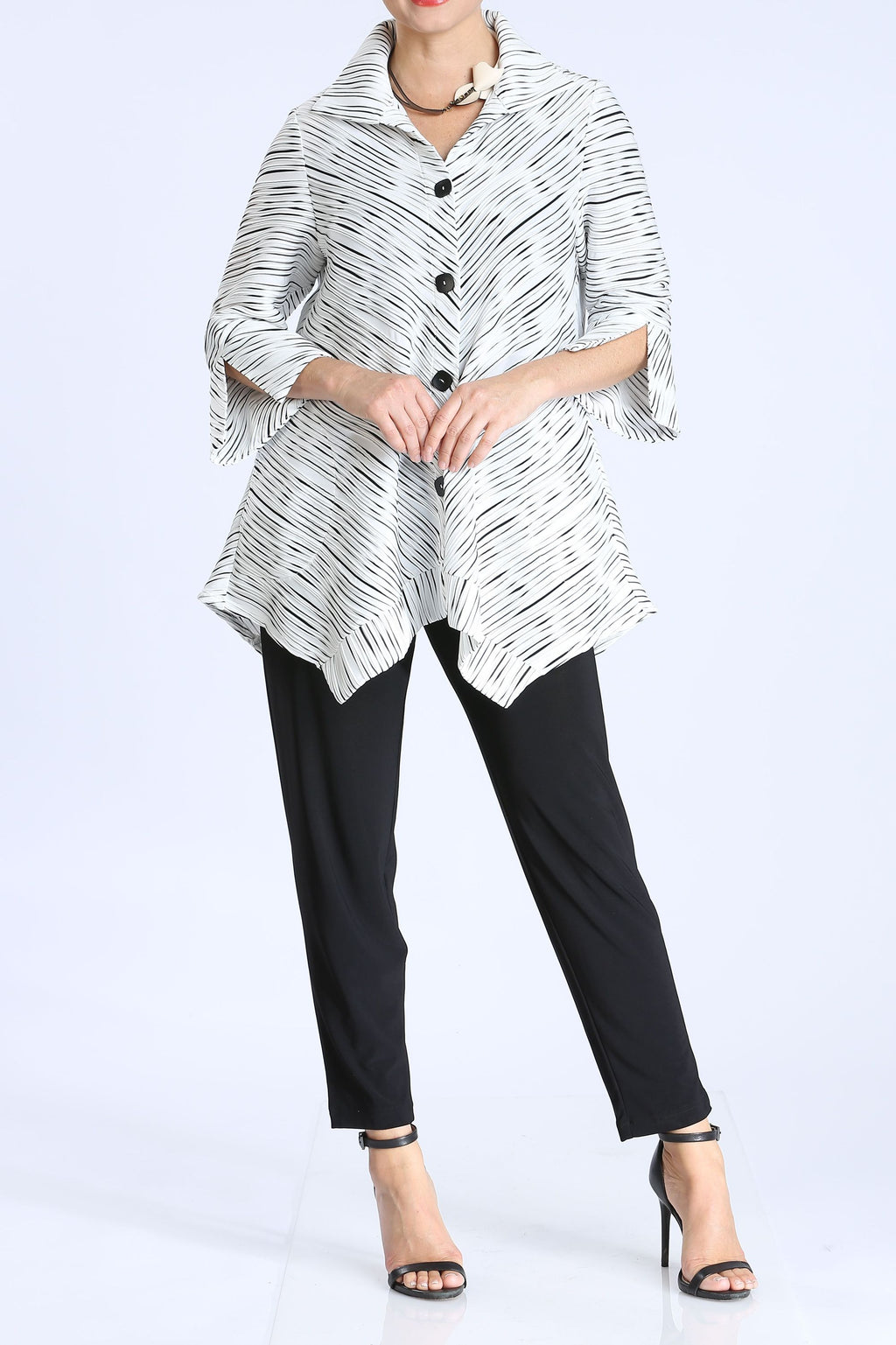 Plus Size Ruffle Twist Bias Cut Jacket