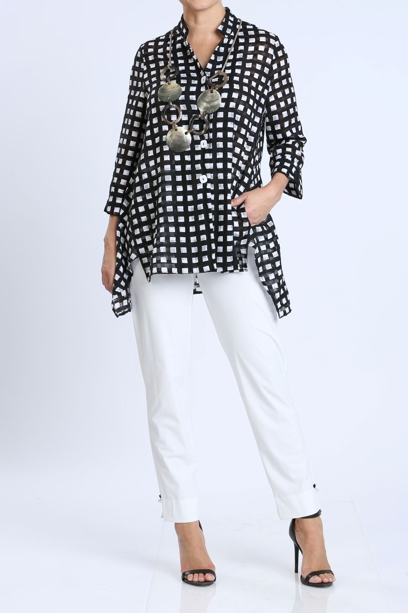 Plus Size Button Up Checkered Blouse