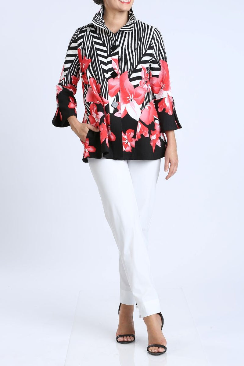 Plus Size Floral Button Front Jacket