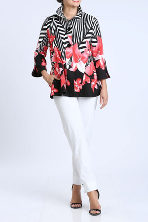 Red Floral Button Front Jacket