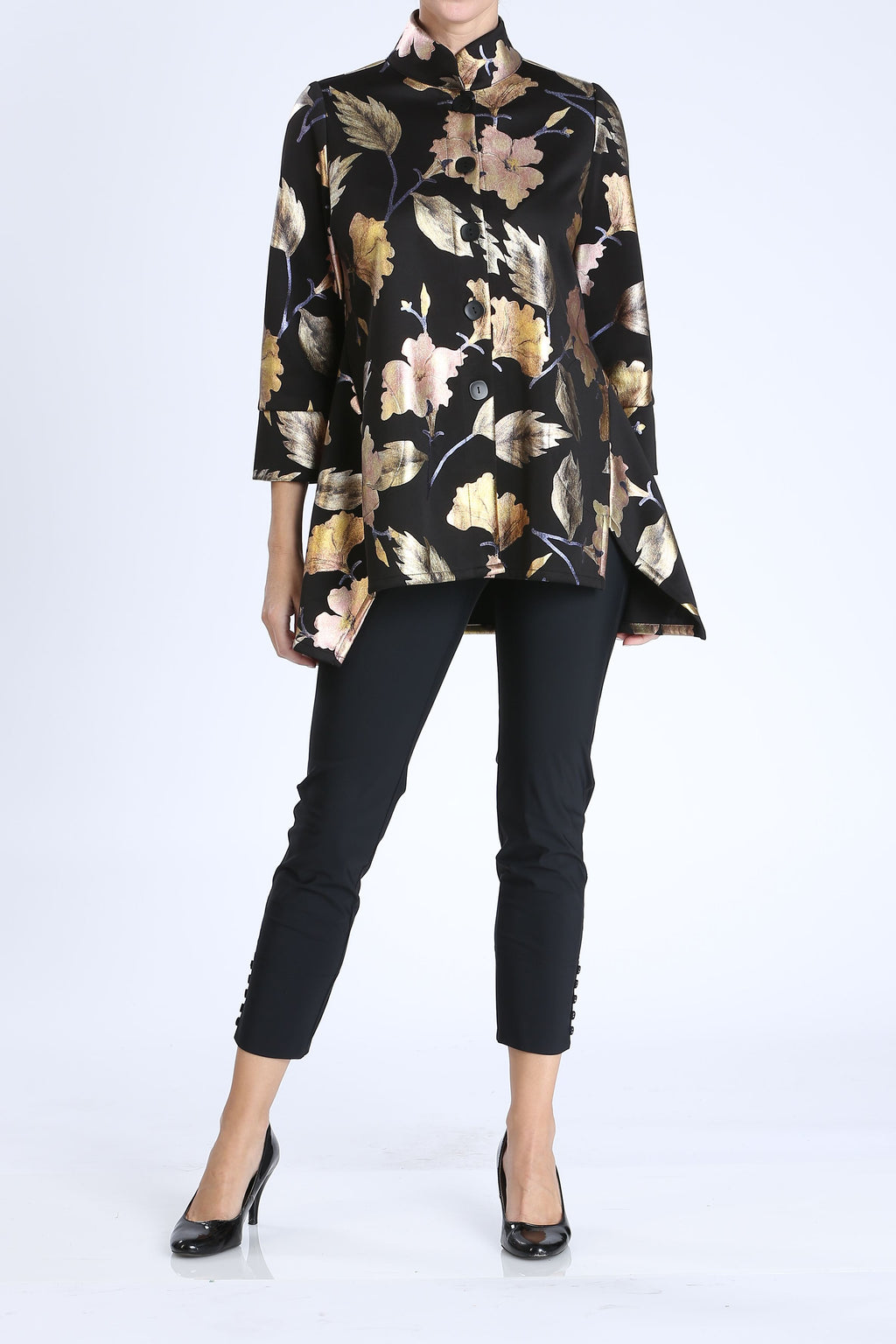 Plus Size Gold Foil High Neck Jacket