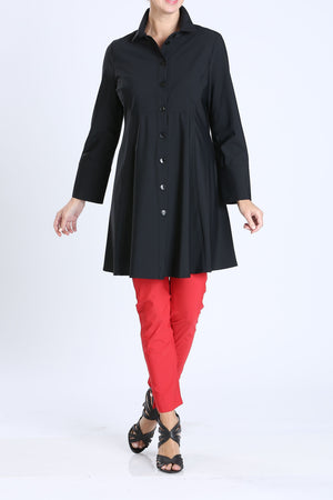 Black Button Front Long Sleeve Flare Jacket