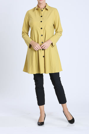 Mustard Button Front Long Sleeve Flare Jacket