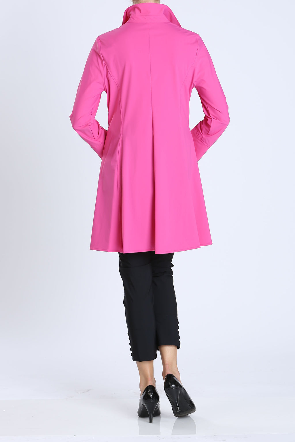 Pink Button Front Long Sleeve Flare Jacket