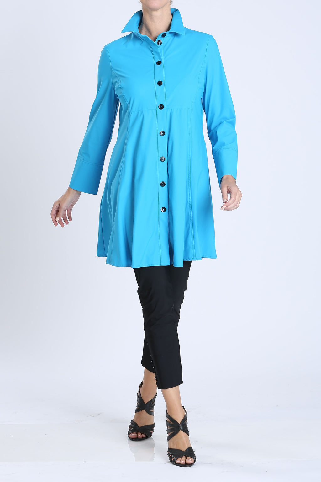 Turquoise Button Front Long Sleeve Flare Jacket