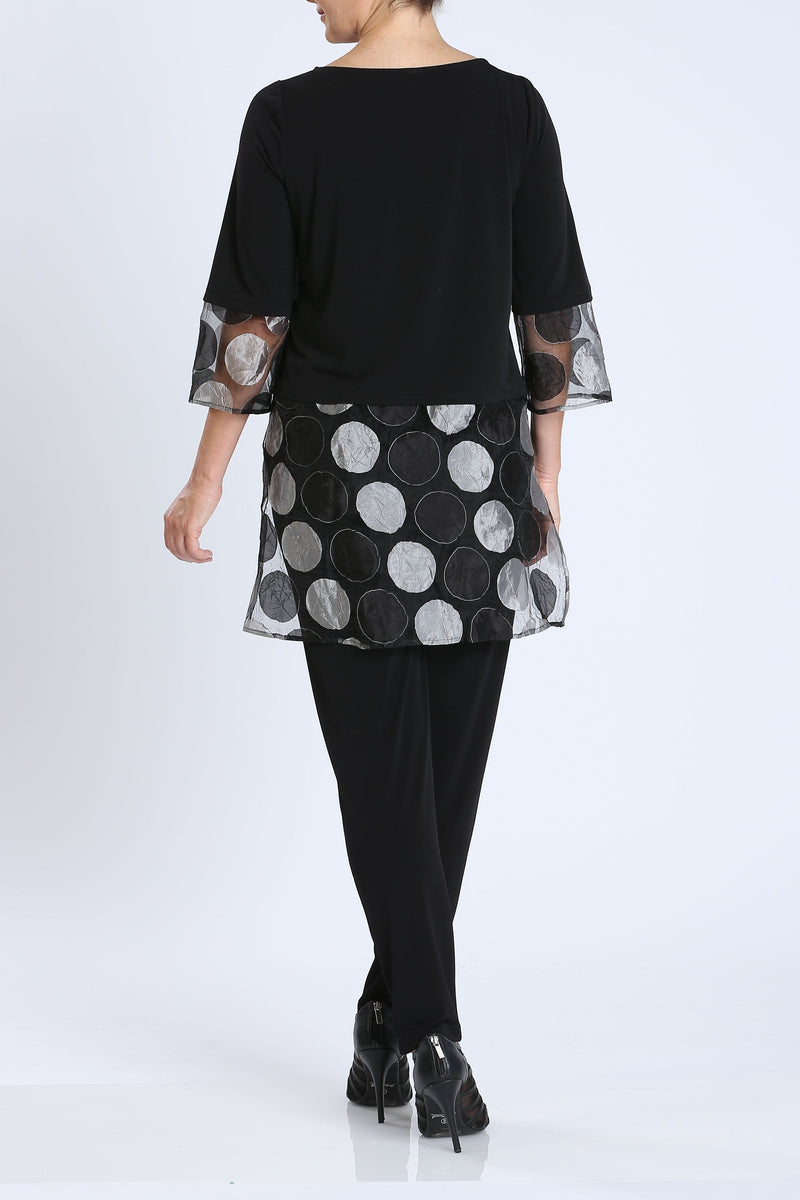 Black Organza Polka Dot High-Low Tunic