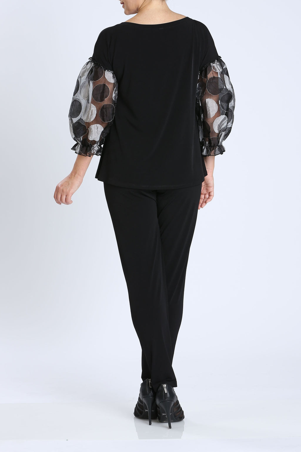 Black Organza Polka Dot Pop Sleeve Top