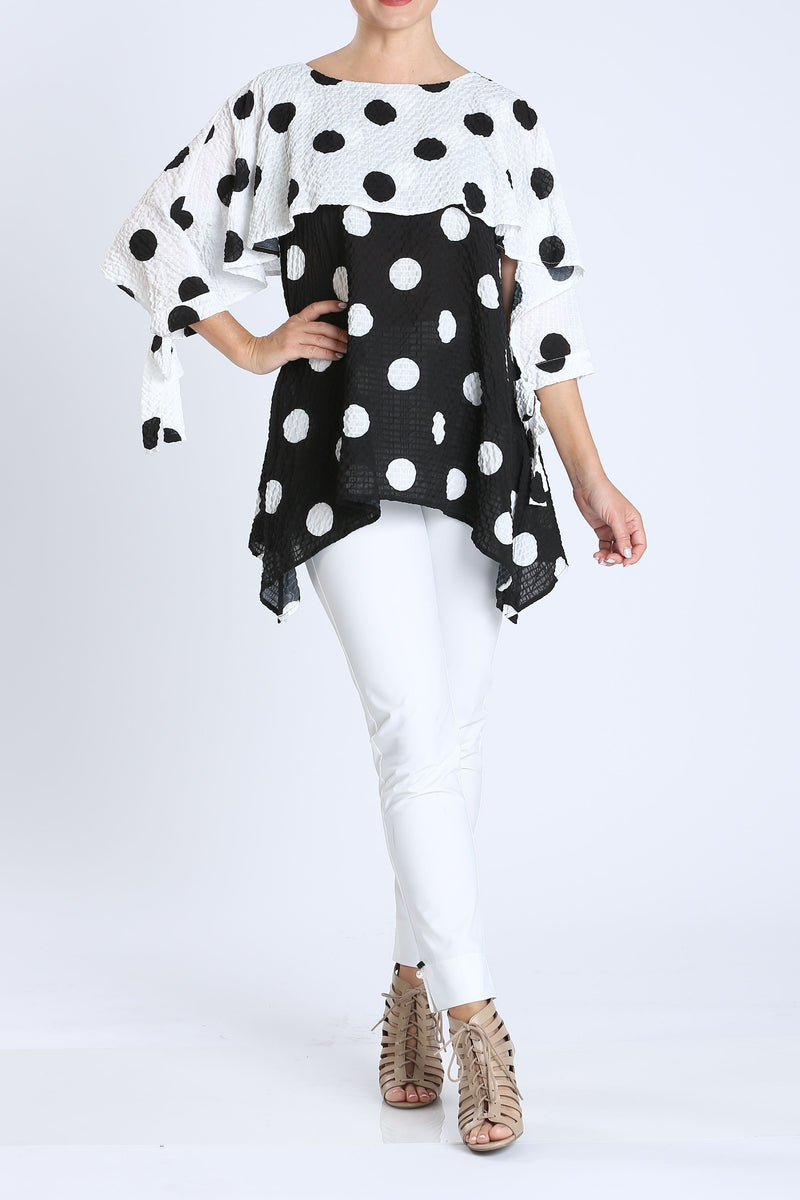 Black/White Eros Polka Dot Cuff Tie Tunic Top