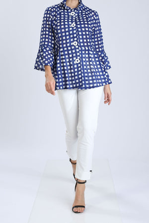 Plus Size Flair Sleeve Check Print Jacket