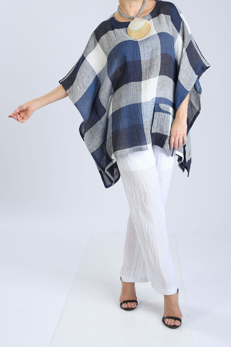Blue Plaid Crinkle Linen Top