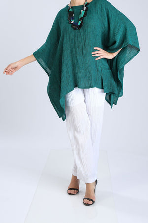 Plus Size Linen Boat Neck Top