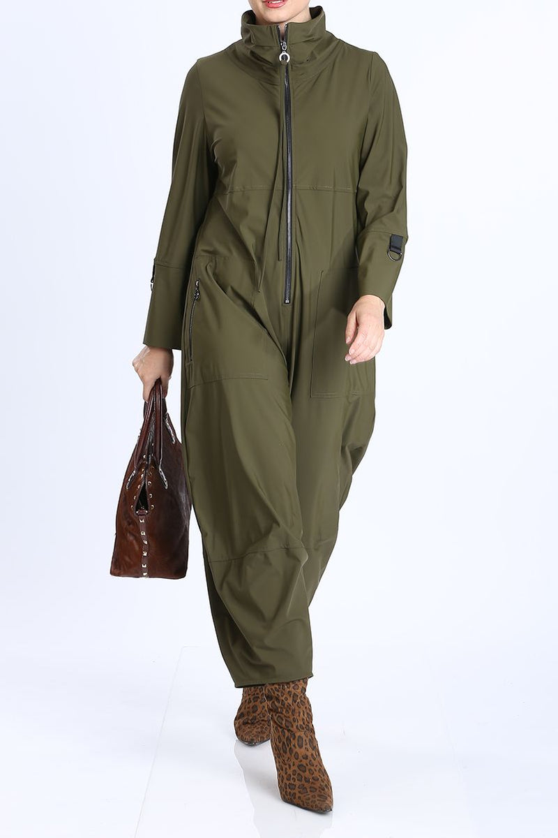 Olive Zip-Up Front Cropped Long Sleeve Jumpsuit