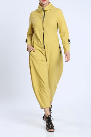 Mustard Zip-Up Front Cropped Long Sleeve Jumpsuit